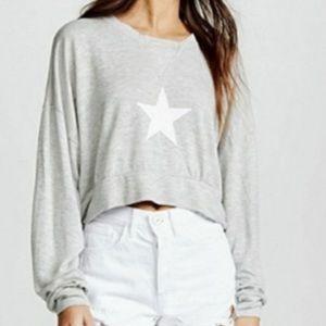 Wildfox Cropped Star Sweatshirt xs oversized